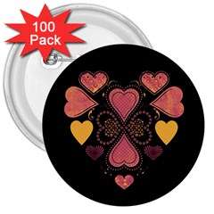 Love Collage 3  Button (100 Pack)