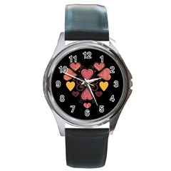 Love Collage Round Leather Watch (silver Rim)