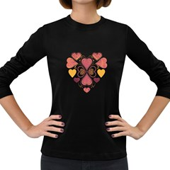 Love Collage Women s Long Sleeve T-shirt (Dark Colored)