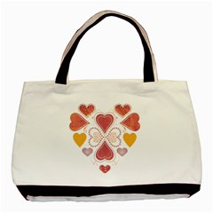 Love Collage Twin Sided Black Tote Bag