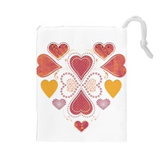 Love Collage Drawstring Pouch (Large)