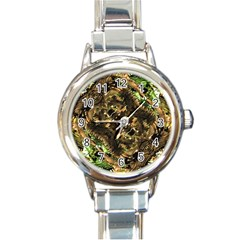 Artificial Tribal Jungle Print Round Italian Charm Watch