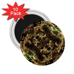 Artificial Tribal Jungle Print 2.25  Button Magnet (10 pack)