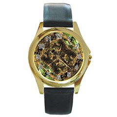 Artificial Tribal Jungle Print Round Leather Watch (gold Rim)