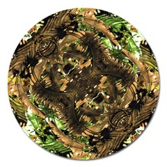 Artificial Tribal Jungle Print Magnet 5  (Round)