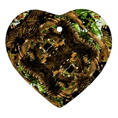 Artificial Tribal Jungle Print Heart Ornament (two Sides)