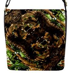 Artificial Tribal Jungle Print Flap Closure Messenger Bag (small)