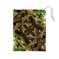 Artificial Tribal Jungle Print Drawstring Pouch (large)