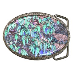 Colored Pencil Tree Leaves Drawing Belt Buckle (oval)