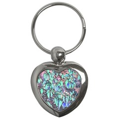 Colored Pencil Tree Leaves Drawing Key Chain (Heart)