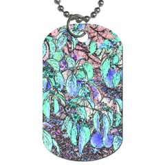 Colored Pencil Tree Leaves Drawing Dog Tag (one Sided)