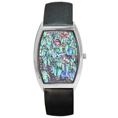 Colored Pencil Tree Leaves Drawing Tonneau Leather Watch