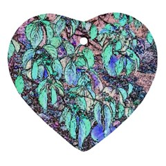Colored Pencil Tree Leaves Drawing Heart Ornament (Two Sides)