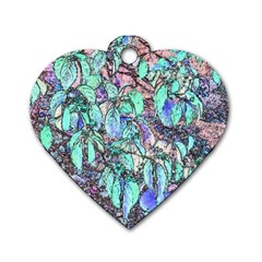 Colored Pencil Tree Leaves Drawing Dog Tag Heart (One Sided)
