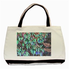 Colored Pencil Tree Leaves Drawing Twin-sided Black Tote Bag