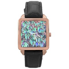 Colored Pencil Tree Leaves Drawing Rose Gold Leather Watch