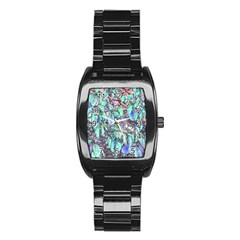 Colored Pencil Tree Leaves Drawing Stainless Steel Barrel Watch
