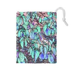 Colored Pencil Tree Leaves Drawing Drawstring Pouch (Large)