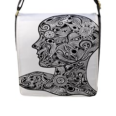 Abstract Face Flap Closure Messenger Bag (Large)