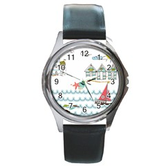 Summer Holiday Round Leather Watch (silver Rim)