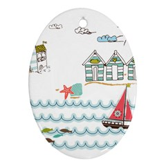 Summer Holiday Oval Ornament