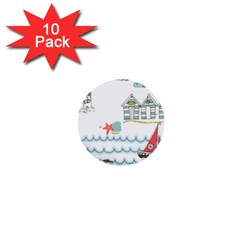 Summer Holiday 1  Mini Button (10 Pack)