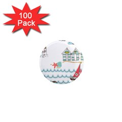 Summer Holiday 1  Mini Button Magnet (100 pack)
