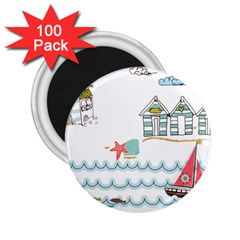 Summer Holiday 2.25  Button Magnet (100 pack)