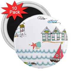 Summer Holiday 3  Button Magnet (10 pack)