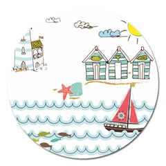 Summer Holiday Magnet 5  (round)