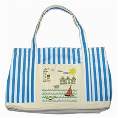 Summer Holiday Blue Striped Tote Bag