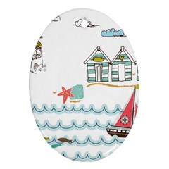 Summer Holiday Oval Ornament (two Sides)