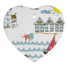 Summer Holiday Heart Ornament (two Sides)