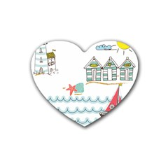 Summer Holiday Drink Coasters 4 Pack (heart)