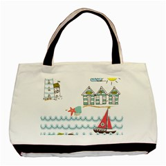 Summer Holiday Twin-sided Black Tote Bag