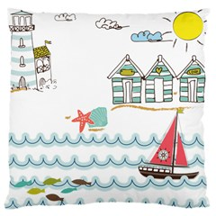 Summer Holiday Large Cushion Case (two Sided)