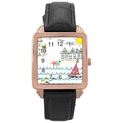 Summer Holiday Rose Gold Leather Watch
