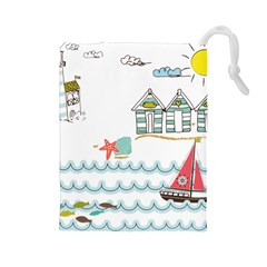 Summer Holiday Drawstring Pouch (Large)