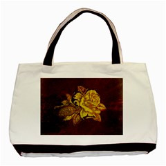 Rose Twin Sided Black Tote Bag