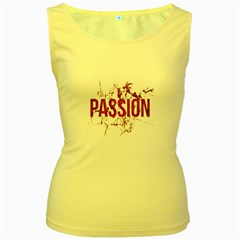 Passion and Lust Grunge Design Women s Tank Top (Yellow)