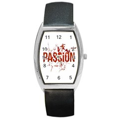 Passion And Lust Grunge Design Tonneau Leather Watch