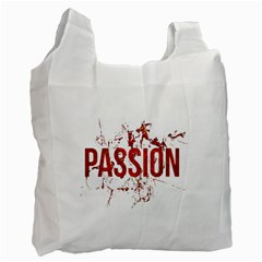 Passion and Lust Grunge Design White Reusable Bag (Two Sides)