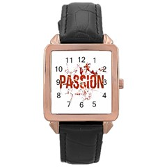 Passion and Lust Grunge Design Rose Gold Leather Watch