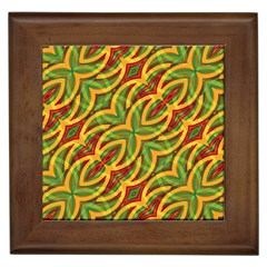 Tropical Colors Abstract Geometric Print Framed Ceramic Tile