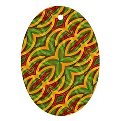 Tropical Colors Abstract Geometric Print Oval Ornament