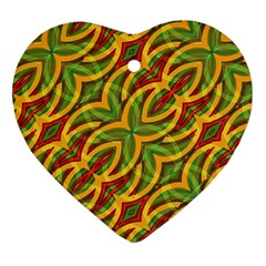 Tropical Colors Abstract Geometric Print Heart Ornament