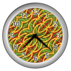 Tropical Colors Abstract Geometric Print Wall Clock (Silver)