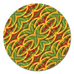 Tropical Colors Abstract Geometric Print Magnet 5  (Round)