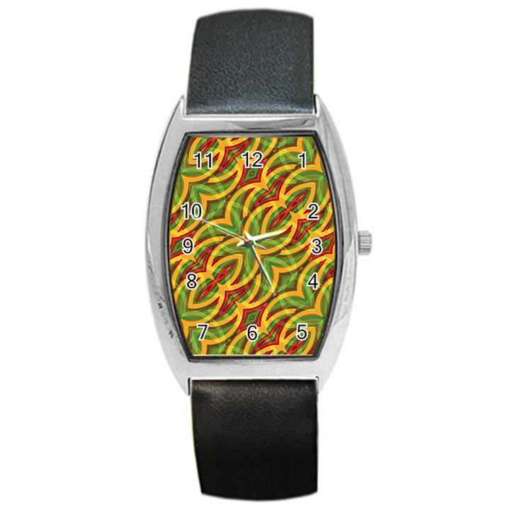 Tropical Colors Abstract Geometric Print Tonneau Leather Watch