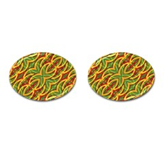Tropical Colors Abstract Geometric Print Cufflinks (Oval)